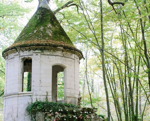 Forest wedding ceremony at a France chateau wedding by Destination wedding planner Mango Muse Events