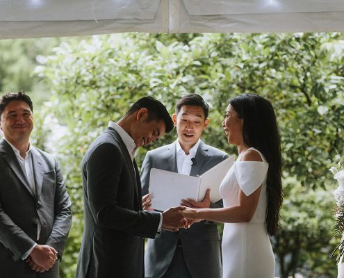 Bride and groom at their wedding ceremony in Vancouver by Destination wedding planner Mango Muse Events