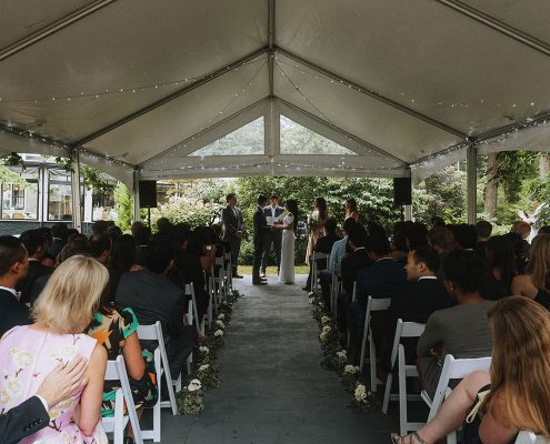 Wedding ceremony tent at a Vancouver destination wedding by Destination wedding planner Mango Muse Events
