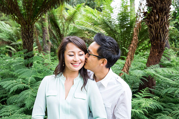 Engagement photo kiss in San Francisco