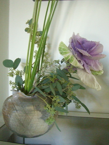 Cabbage ikebana arrangement from the side