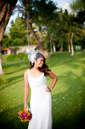 Beautiful bride at a Maui wedding by destination wedding planner, Mango Muse Events