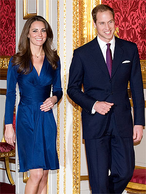 Prince William and Kate Middleton in a blue dress