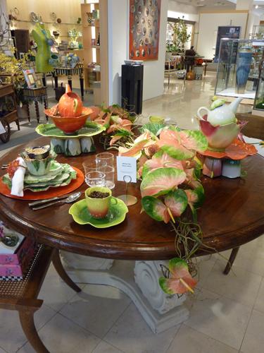 Table setting Hawaii Ikebana arrangement at Neiman Marcus