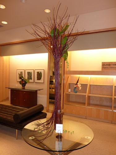 Grape and branches Hawaii Ikebana arrangement at Neiman Marcus