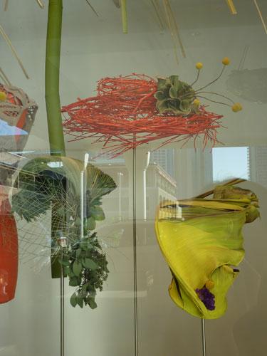 Close Up of Natural Hats Hawaii Ikebana arrangement at Neiman Marcus