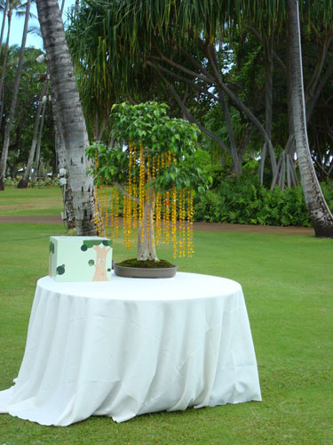 Bonsai Tree Thousand Paper Cranes Gift Table at a Green Wedding in Hawaii by Destination Wedding Planner, Mango Muse Events
