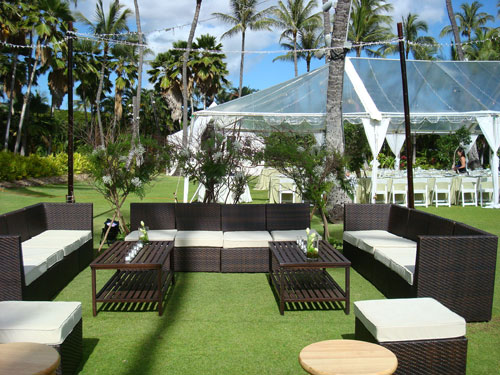 Lounge Setup Day Time at a Green Wedding in Hawaii by Destination Wedding Planner, Mango Muse Events