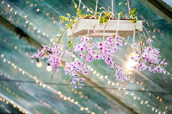 Orchid floral chandeliers created for a green Hawaii wedding by Destination wedding planner, Mango Muse Events