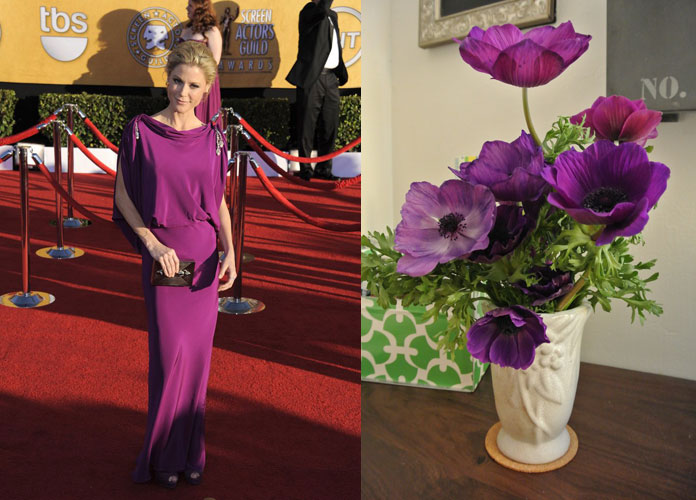 Julie Bowen in purple and purple flowers are SAG Awards wedding inspiration by Destination wedding planner, Mango Muse Events