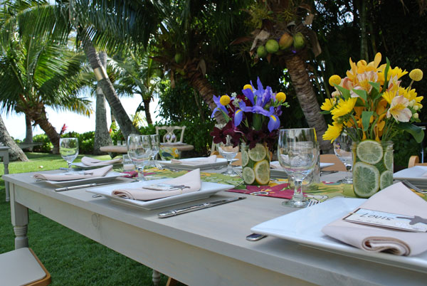 Tables made for a custom event design for a Hawaii wedding by Destination wedding planner, Mango Muse Events