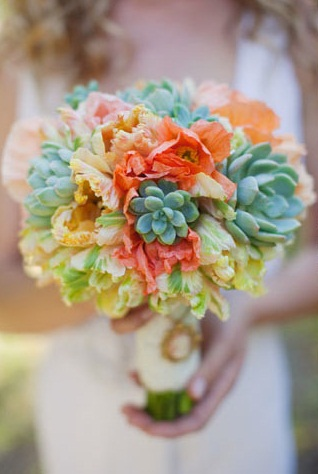 Orange tulips green succulents wedding bouquet Easter color inspiration by Destination wedding planner, Mango Muse Events