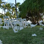 Ceremony setup with daisies at a personalized Hawaii wedding by Destination wedding planner, Mango Muse Events