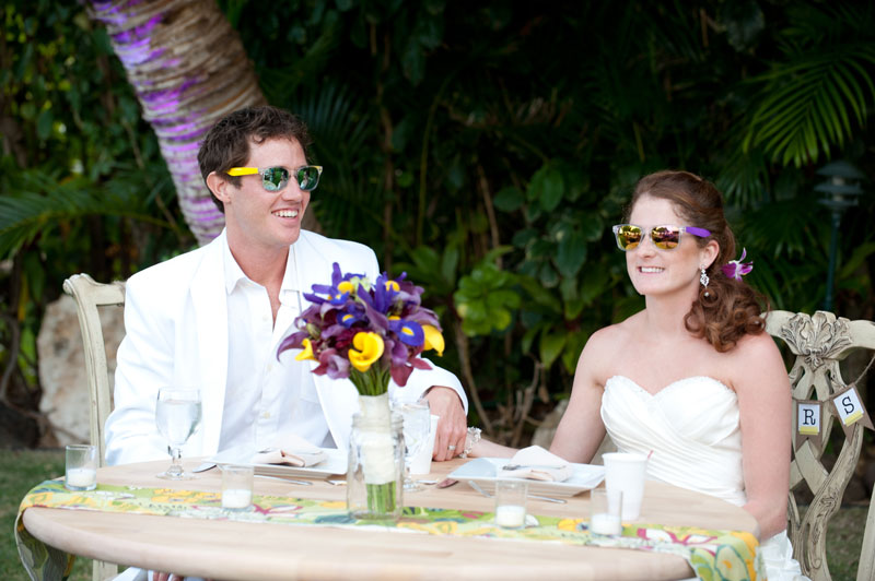 Wedding couple in sunglasses for a Hawaii destination wedding on Style Me Pretty by Destination wedding planner, Mango Muse Events
