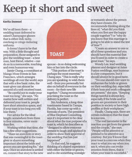 Article on wedding toasts tips published in the South China Morning Post newspaper advice by Destination Wedding Planner, Mango Muse Events