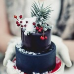 Christmas wedding cake with berries and snow