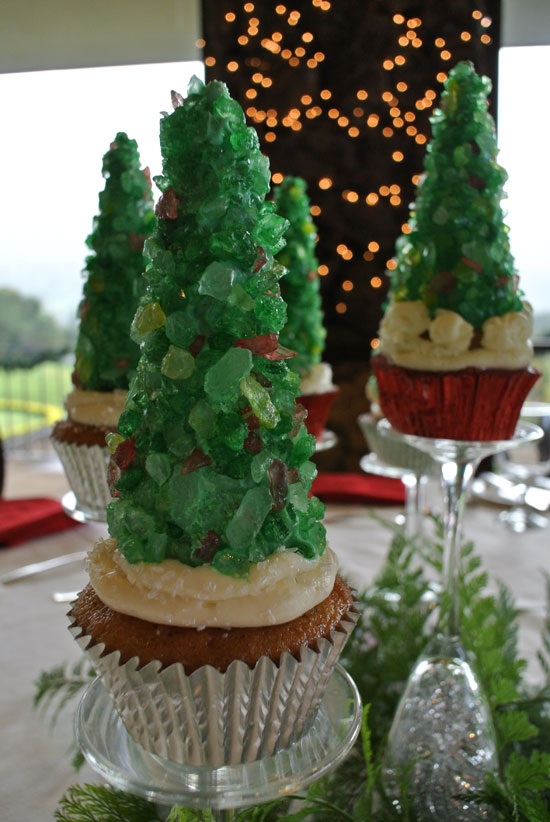 Rock candy and sugar cone Christmas tree cupcake as a Holiday party centerpiece idea by Destination wedding planner Mango Muse Events