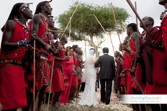 Masai wedding ceremony at a Kenya destination wedding shared by Destination wedding planner Mango Muse Events