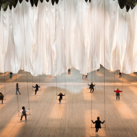 Ann Hamilton The Event of a Thread Swinging art installation in New York City