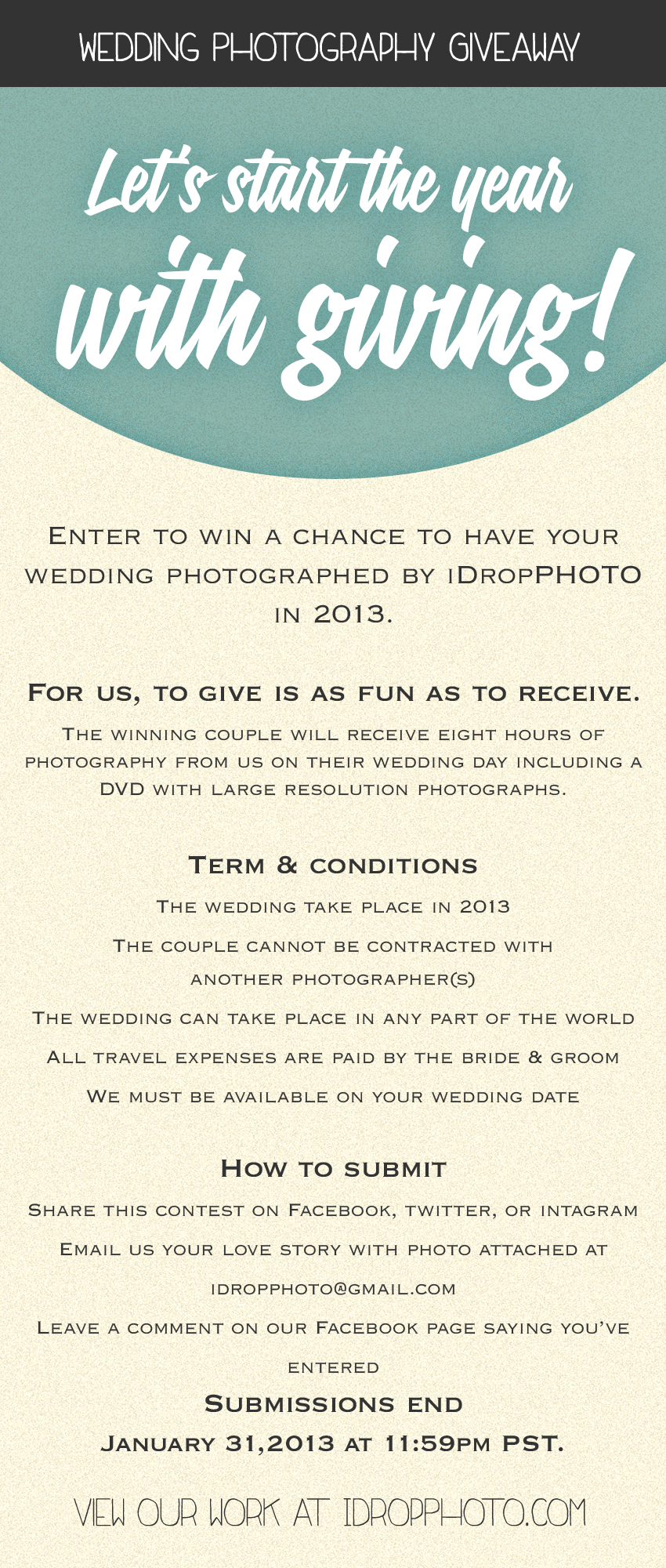 iDropPhoto wedding photography giveaway