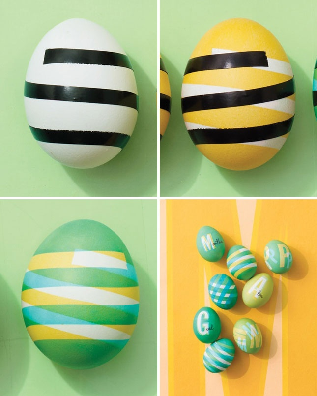 Striped Easter eggs decorating ideas for an Easter Party