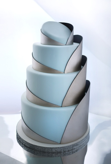 Blue and gray architectural wedding cake designs by Charm City Cakes and shared by Destination wedding planner Mango Muse Events