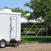 Luxury portable bathrooms for an outdoor private estate wedding