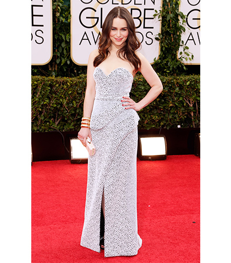 Emilia Clarke on the red carpet 2014 Golden Globes wedding inspiration picks by Destination wedding planner Mango Muse Events