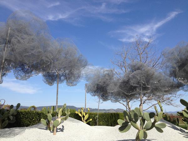 Art cloud installation at destination wedding venue Cornerstone in Sonoma. Photo taken by Jamie Chang destination wedding planner of Mango Muse Events.