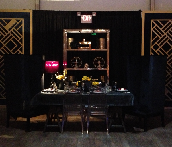 Black graphic wedding table design by Chantal Events.