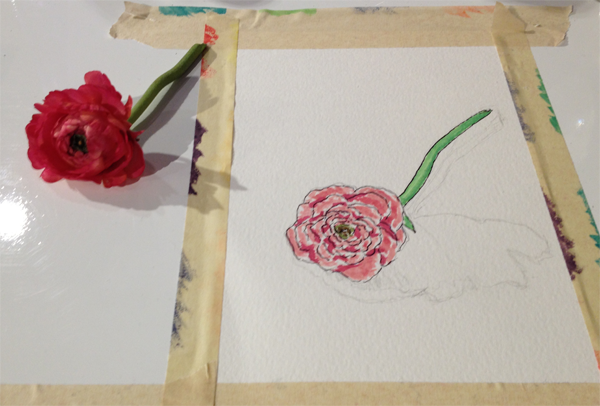 Red ranunculus watercolor and sketch design by Jamie Chang, destination wedding planner at Mango Muse Events created at The Sketchbook Series