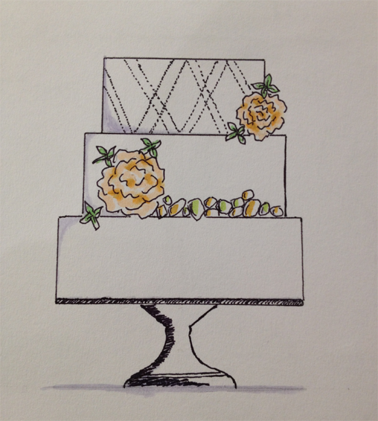 Cake sketch by destination wedding planner Jamie Chang of Mango Muse Events created at The Sketchbook Series