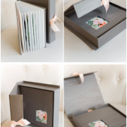 A silk wedding photo album and box by Sabine Scherer Photography