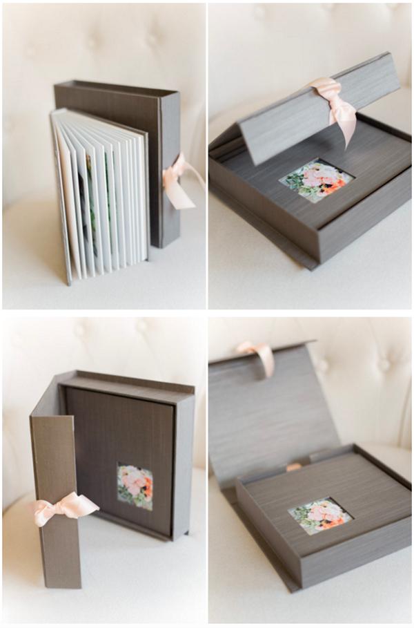 A silk wedding photo album and box by Sabine Scherer Photography