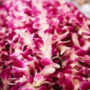 Hawaiian leis at a destination wedding by destination wedding planner Jamie Chang of Mango Muse Events.