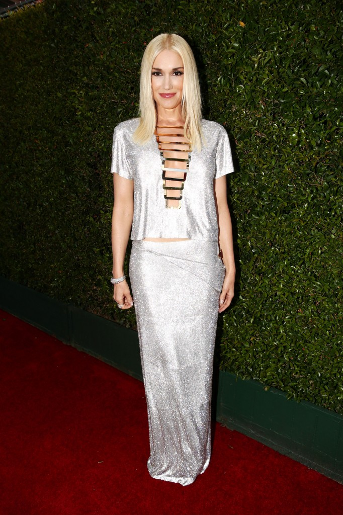 Gwen Stefani in a silver metallic Versace gown on the red carpet of the 2014 Emmys wedding inspiration picks by Destination wedding planner Mango Muse Events
