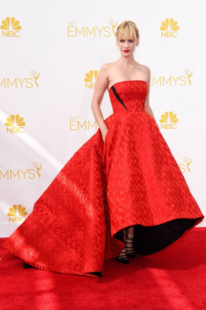 January Jones in a red Prabal Gurung gown on the red carpet of the 2014 Emmys wedding inspiration picks by Destination wedding planner Mango Muse Events
