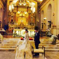 Monique Lhuiller's parents in a church renewing their vows at their 50th wedding anniversary