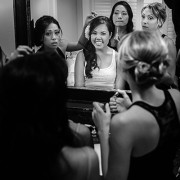 Bride and bridesmaids getting ready for wedding by destination wedding planner Jamie Chang of Mango Muse Events.