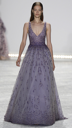 Bridal fashion inspiration from designer Monique Lhuillier Spring 2015, purple beaded gown