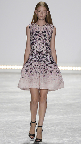 Bridal fashion inspiration from Monique Lhuillier Spring 2015, Rorschach printed dress.