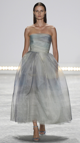 Bridal fashion inspiration from designer Monique Lhuillier Spring 2015, Sheer grey gown.