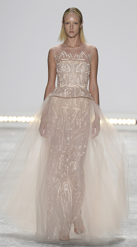 Bridal fashion inspiration from Monique Lhuillier Spring 2015, pink sheer metallic dress.
