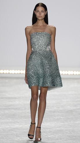 Bridal fashion designer Monique Lhuillier Spring 2015, short metallic sparkle dress.