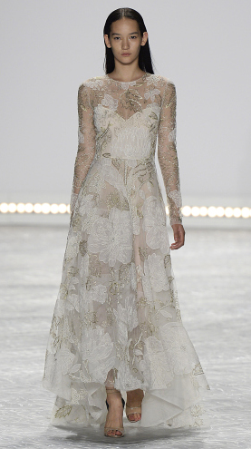 Bridal fashion inspiration from Monique Lhuillier Spring 2015, White floral gown