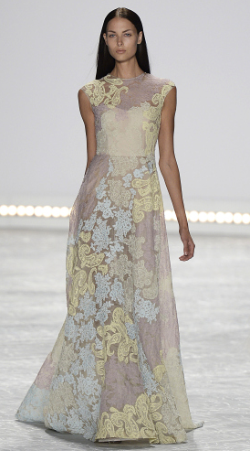 Bridal fashion inspiration from Monique Lhuillier Spring 2015, yellow and blue flower gown.