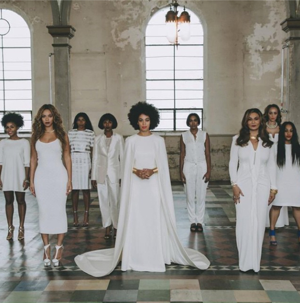 Solange Knowles white wedding dress at her destination wedding New Orleans.