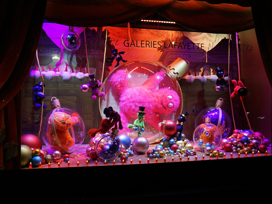 2014 Christmas Noël Monstre Christmas window displays by Galeries Lafayette in Paris.