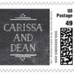 Custom wedding postage stamps.