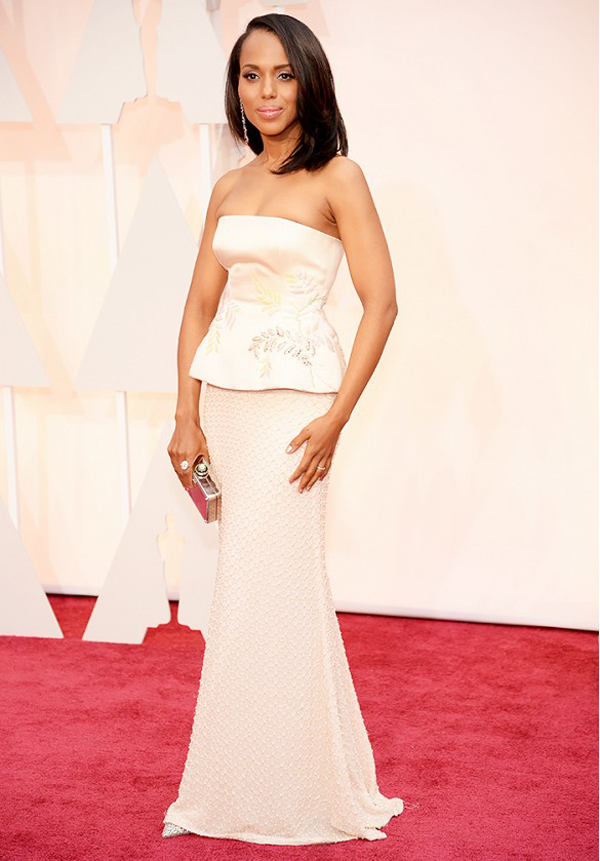 Kerry Washington wears 2 piece champagne colored Miu Miu gown for 2015 Oscars wedding inspiration by destination wedding planner Mango Muse Events